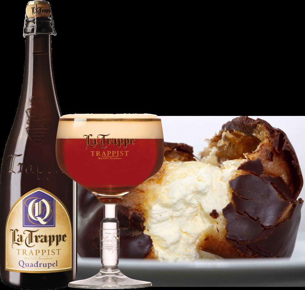 Cerveja La Trappe com uma sobremesa típica de Amsterdam