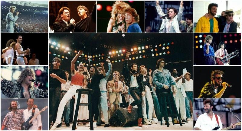 Imagens show Live Aids no estádio de Wembley (Inglaterra)