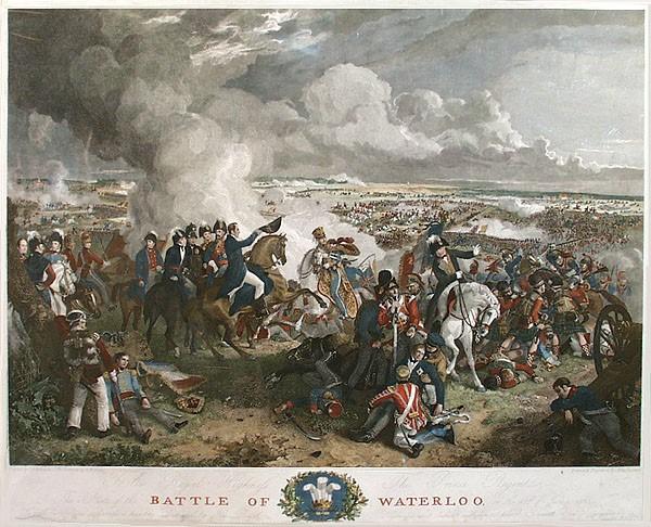 Quadro representando a Batalha de Waterloo